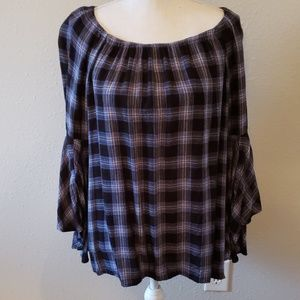 Large Fever Navy Blue Flannel Top w/Bell Sleeves
